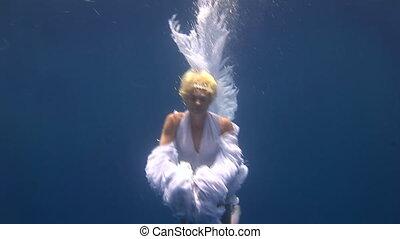 sous-marin, ange, jeune, gratuite, girl, modèle, déguisement, blanc, poses, plongeur, rouges, sea.