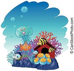 sous-marin, animaux, mer, natation