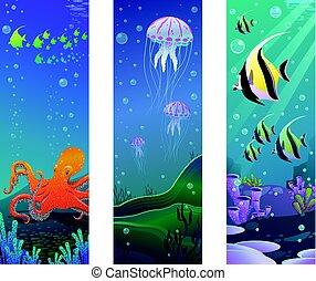 sous-marin, animaux, vertical, mer, bannières, dessin animé