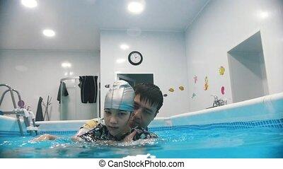 sous-marin, cérébral, eau, palsy., enfant, exercices, ...