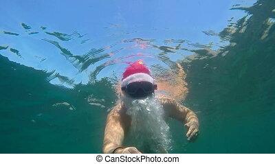 sous-marin, claus, vacances, plongeur, exotique, recours, santa, plage, noël, snorkeling