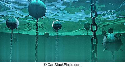 sous-marin, concept, naval, danger, mines, flotter, élevé, rendu, ocean., caché, 3d, bombes, risque, illustration.