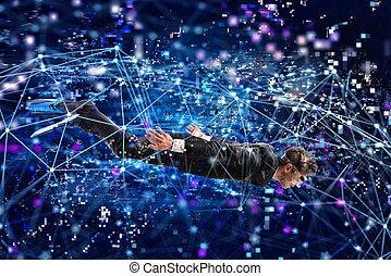 sous-marin, concept, surfer, mask., exploration, internet, homme affaires