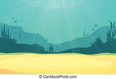sous-marin, coral., poisson plat, sable, silhouette, océan,...