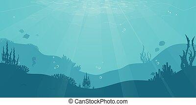 sous-marin, coral., poisson plat, silhouette, océan, algue,...