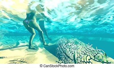 sous-marin, couple, jeune