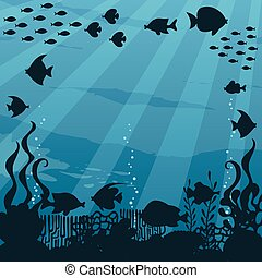 sous-marin, dessin animé, paysage