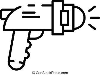 sous-marin, emplacement, pistolet, icône, contour, style