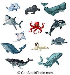 sous-marin, ensemble, animaux, dessin animé, coloré