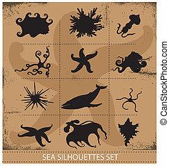 sous-marin, ensemble, animaux, symboles, silhouettes, mer