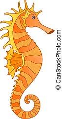 sous-marin, entiers, golden-orange, picture., style, couleur...