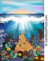 sous-marin, fish, illustration, exotique, sable, vecteur, carte, château