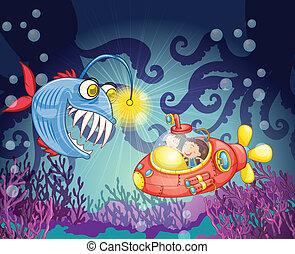 sous-marin, fish, monstre