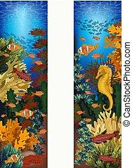 sous-marin, fish, seahorse, illustration, etoile mer, exotique, vecteur, bannières