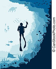 sous-marin, fish, vie sauvage, méduse, plongeur