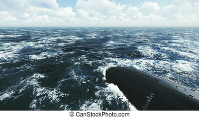 sous-marin, flotter loin