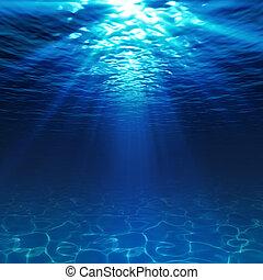 sous-marin, fond mer, sablonneux, vue