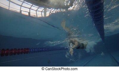 sous-marin, formation, femme, nageur, club, eau, santé, ...