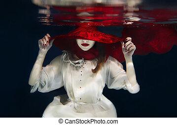 sous-marin, girl, chapeau, rouges