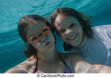 sous-marin, girl, selfie