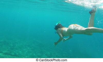 sous-marin, girl, snorkeling, mer, sexy