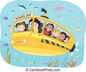 sous-marin, gosses école, stickman, autobus, illustration