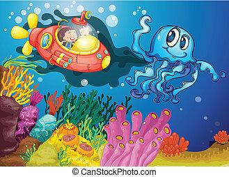 sous-marin, gosses, poulpe