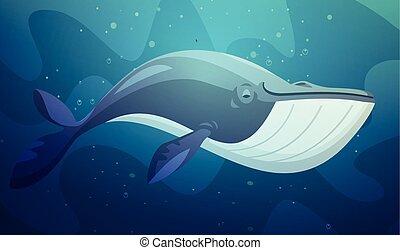 sous-marin, grand poisson, illustration, retro, dessin animé
