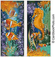 sous-marin, horsefish, illustration, clownfish, vecteur, ...