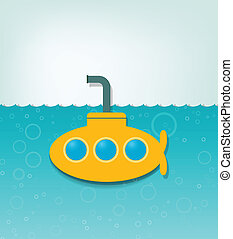 sous-marin, illustration, jaune