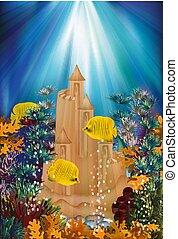 sous-marin, illustration, sable, vecteur, bannière, château