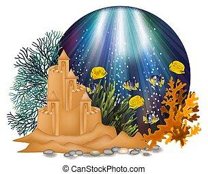 sous-marin, illustration, sable, vecteur, carte, château