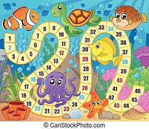 sous-marin, image, thème, 1, panneau jeu
