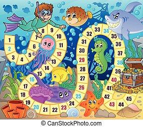 sous-marin, image, thème, jeu, 2, planche