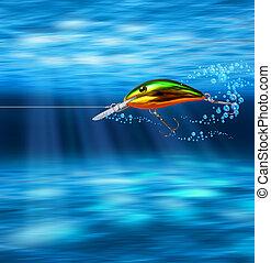 sous-marin, leurre, coloré, chasse