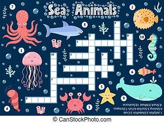 sous-marin, logique, mots croisés, mer, feuille, jeu, ...