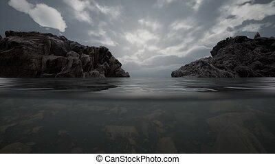 sous-marin, mer, nord, moitié, rochers