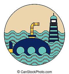 sous-marin, nautique, lifebuoy, océan