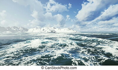 sous-marin, nord, mer, fait surface