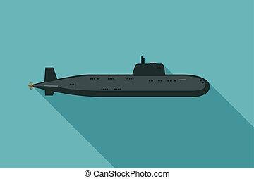 sous-marin, ombre, long