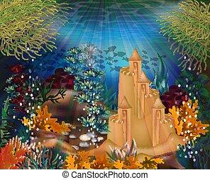 sous-marin, papier peint, illustration, sable, vecteur, château