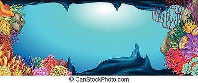 sous-marin, récif corail, scène