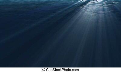 sous-marin, rayon, lumière