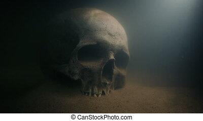 sous-marin, rayons, lumière, crâne
