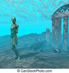 sous-marin, ruine, scène