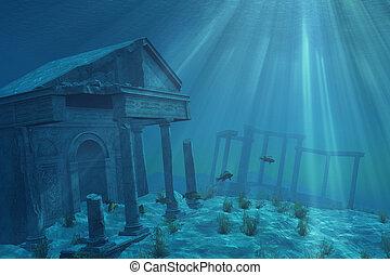 sous-marin, ruines
