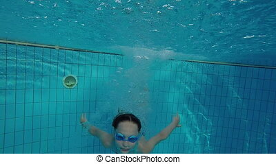 sous-marin, sauter, vidéo, girl, piscine, natation