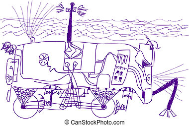 sous-marin, sept, vieux, boy., croquis, robot, voiture., ...