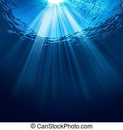 sous-marin, soleil, résumé, arrière-plans, eau, faisceau,...