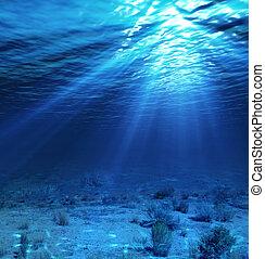 sous-marin, toile de fond, paysage